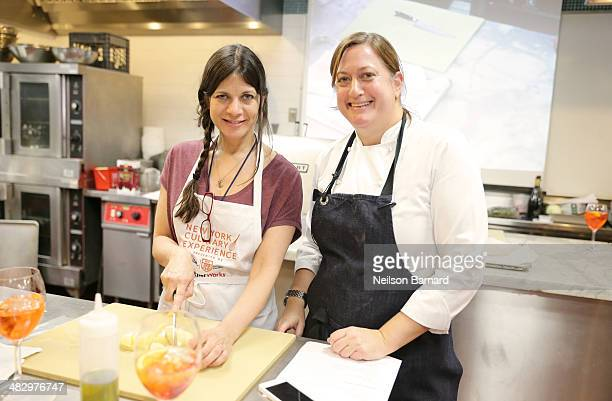 Missy Robbins, Formerly at A Voce , prepares Aperol Spritz, Baccala Montecato Moderno Cotechino Style Pork Sausage, Eggplant in Saor for her class...