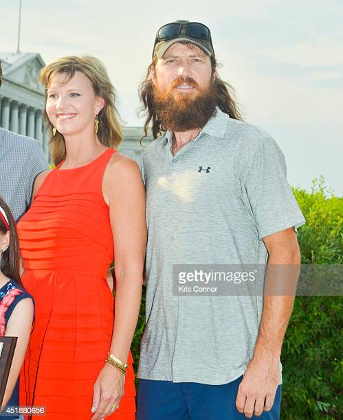 Missy Robertson and Jase Robertson of the television show 'Duck Dynasty' speaks during a press conference to Raise Awareness For Cleft Palate And Lip...