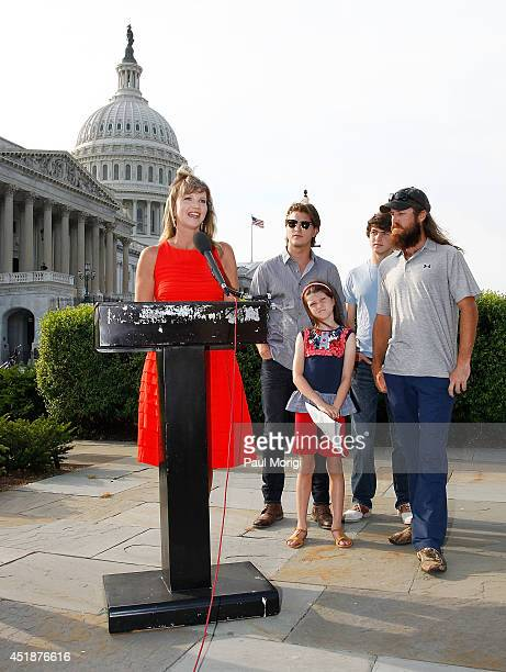 Missy Robertson makes a few remarks along with Reed Robertson Mia Robertson Cole Robertson and Jase Robertson from AE's show 'Duck Dynasty' to share...