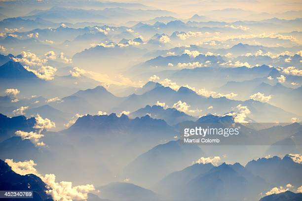 Mist above Alps mountains