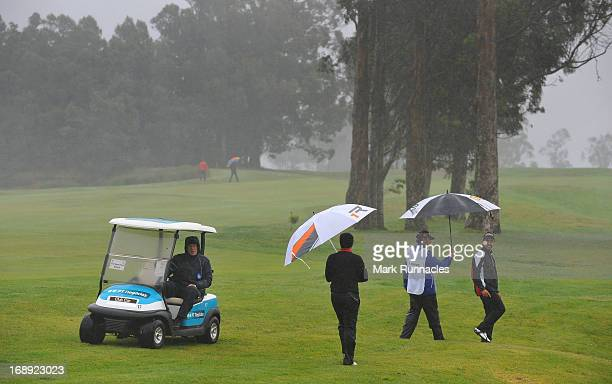 Mist and rain stops play shortly after it starts during Day Two of the Madeira Islands Open Portugal BPI at Club de Golf do Santo da Serra on May 17...
