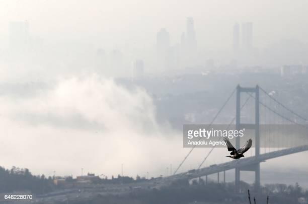 Mist blankets Bosphorus Bridge in Istanbul Turkey on February 28 2017