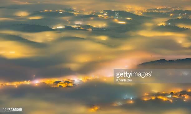 mist covered city