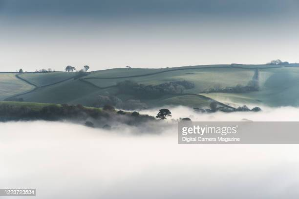 Mist covering a valley near Dartmouth in Devon, England, on January 14, 2019.