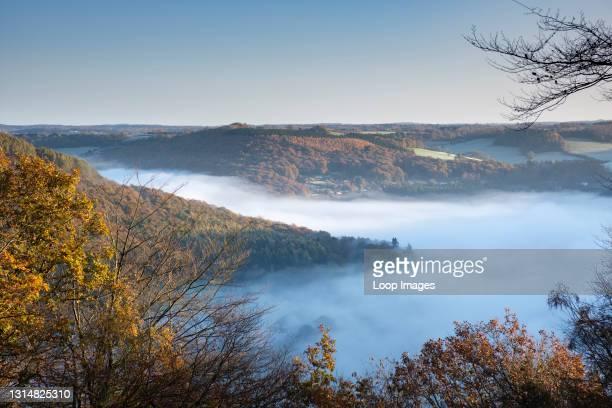 Mist filled Wye Valley near Tintern.