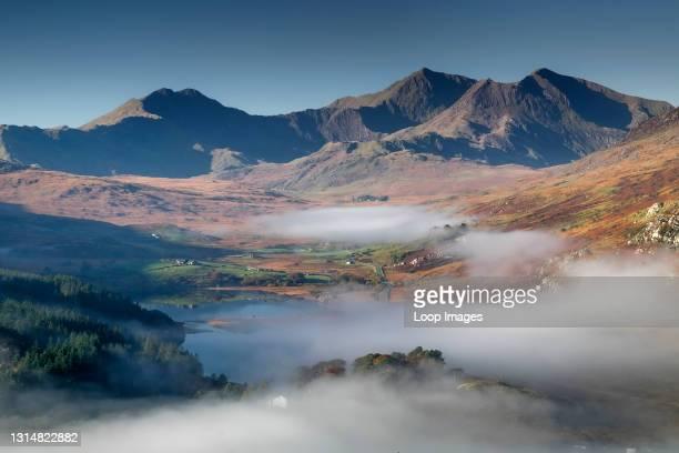 Mist & Fog clearing from Llynnau Mymbyr below the Snowdon Horseshoe in Snowdonia.
