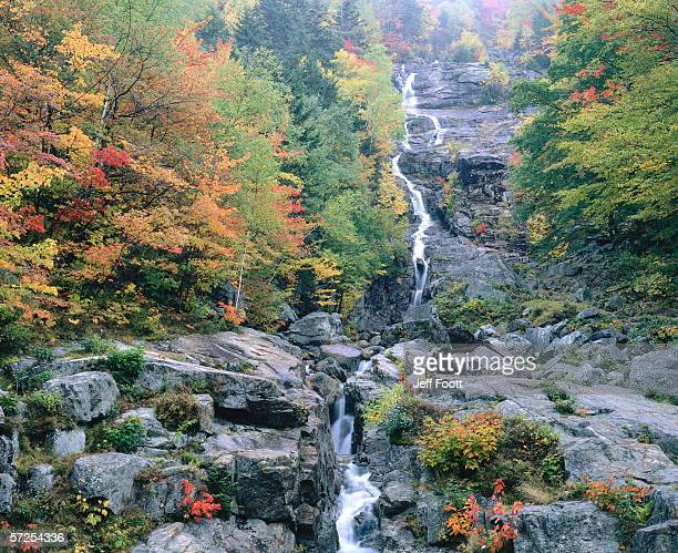 mist hangs over silver cascade surrounded by trees with brilliant autumn colors. silver cascade, white mountains national forest, crawford notch state park, new hampshire. - crawford notch stock pictures, royalty-free photos & images