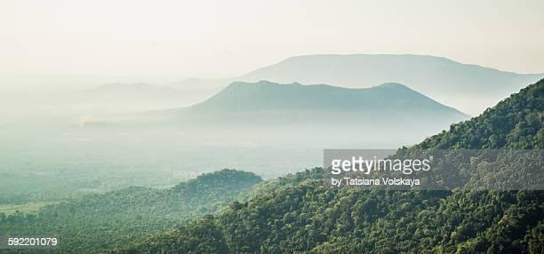mist in tropical mountains, india - ancho fotografías e imágenes de stock