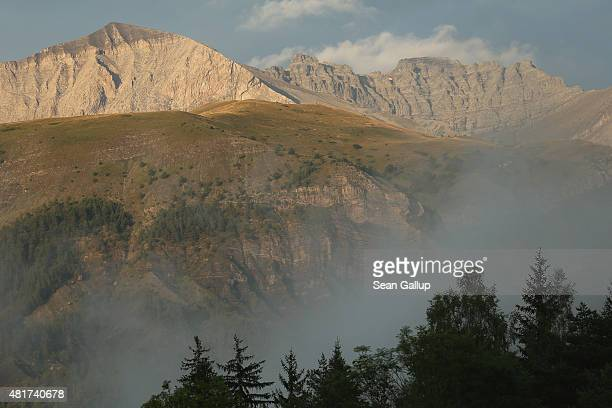 Mist moves through a valley near a mountain range behind which a Germanwings passenger plane crashed on March 24 killing all 150 people on board the...