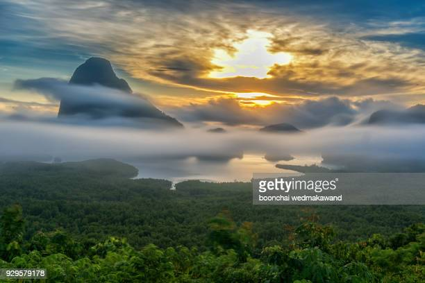 mist on the mountain thailand. - elysium stock pictures, royalty-free photos & images