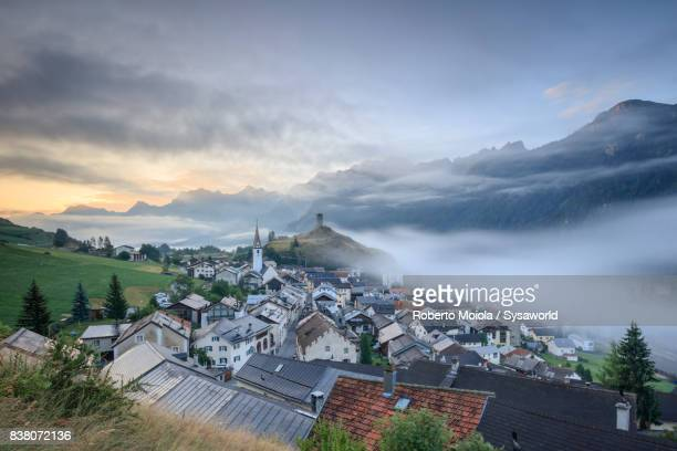 Mist on the village of Ardez, Switzerland