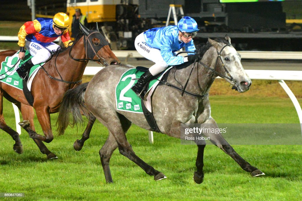 A Mist Opportunity ridden by Katelyn Mallyon wins the Procon Developments F&M BM64 Handicap at Cranbourne Racecourse on October 13, 2017 in Cranbourne, Australia.
