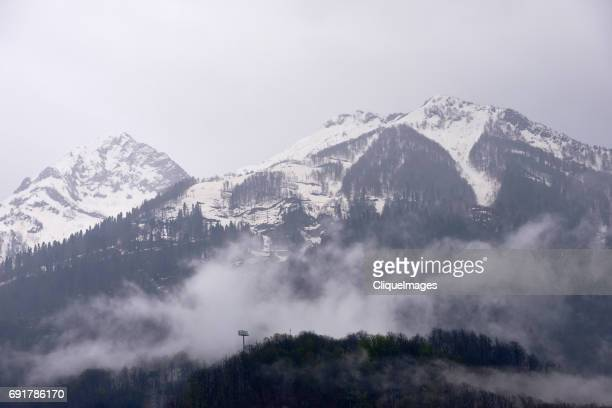 mist over caucasus mountains - cliqueimages stock pictures, royalty-free photos & images
