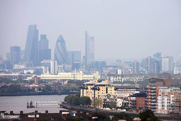 Mist over city skyline of London