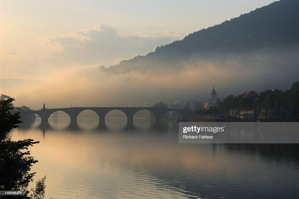 Mist over Heidelberg : Stock Photo