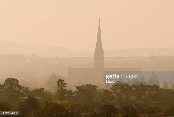 Mist over Salisbury Cathedral, Wiltshire