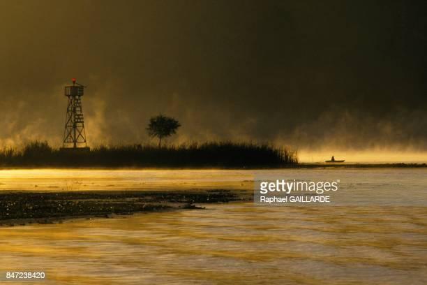 Mist over the Lake of Patzcuaro in November 1987 in Mexico
