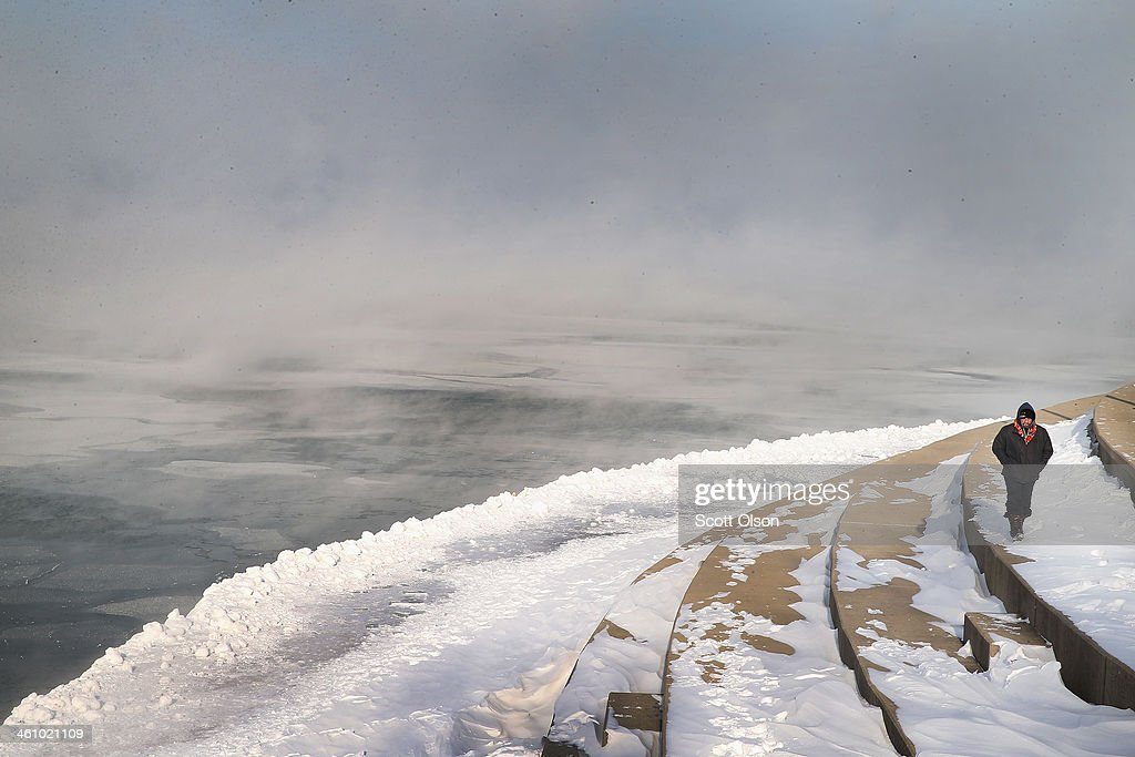 Mist rises from Lake Michigan as temperatures dipped well below zero on January 6, 2014 in Chicago, Illinois. Chicago hit a record low of -16 degree Fahrenheit this morning as a polar air mass brought the coldest temperatures in about two decades into the city.