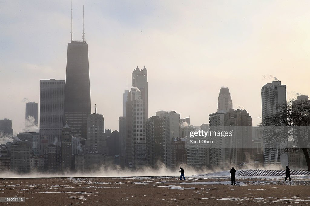 Mist rises from Lake Michigan at North Avenue Beach as temperatures dipped well below zero on January 6, 2014 in Chicago, Illinois. Chicago hit a record low of -16 degree Fahrenheit this morning as a polar air mass brought the coldest temperatures in about two decades into the city.