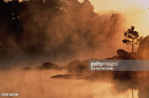 mist rises from lake - eric van den brulle stock pictures, royalty-free photos & images