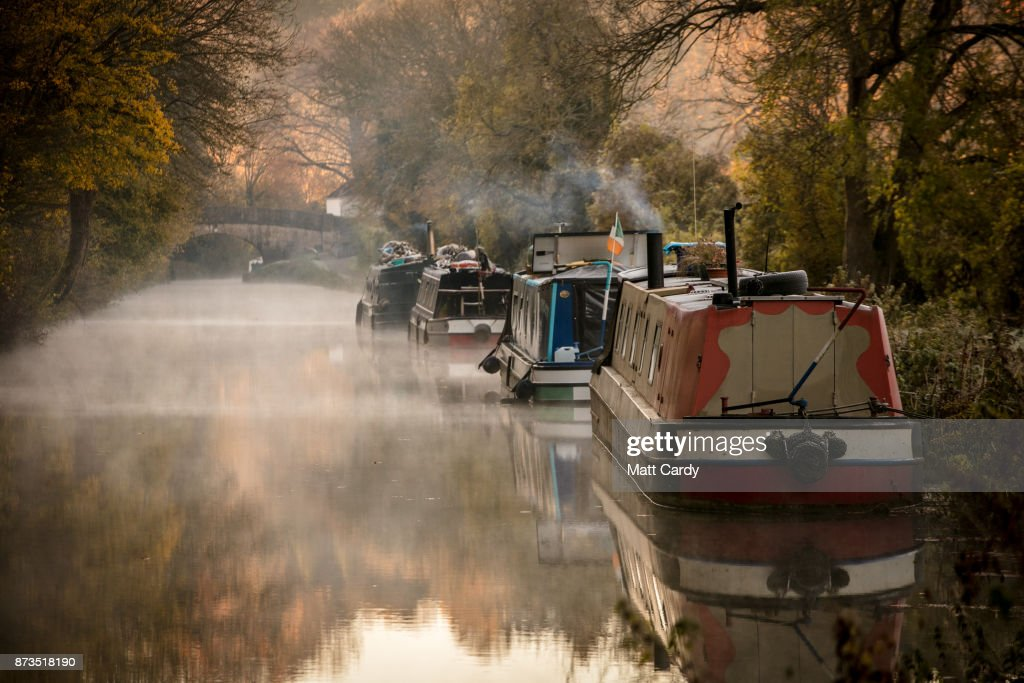 Mist rises from the Kennet and Avon canal near Limpley Stoke as the sun rises on November 13, 2017 near Bath, England. After a warm autumn, with temperatures above average, much colder weather has arrived in many parts of the UK, signalling the start of more wintery weather for the coming few weeks.