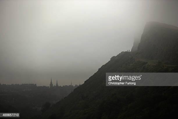 Mist shrouds Arthur's Seat and the Edinburgh skyline during the Scottish referendum on September 18 2014 in Edinburgh Scotland After many months of...