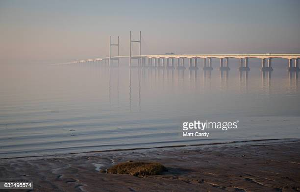 Mist surrounds the M4 Second Severn Crossing on January 23 2017 in Bristol England The two Severn crossings The M48 Severn Bridge and M4 Second...