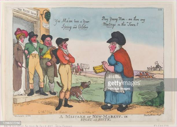 A Mistake at New Market or Sport and Piety October 5 1807 Artist Thomas Rowlandson