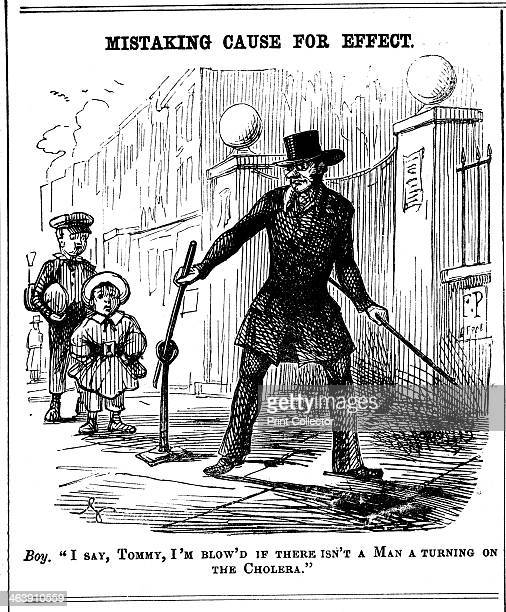 'Mistaking Cause for Effect 1849' A boy thinks the Water Board man is turning on cholera Cholera first appeared in Britain in 1831 and outbreaks...