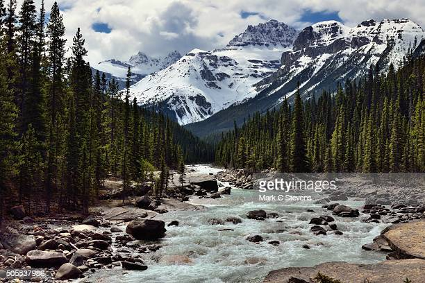 Mistaya River and a View Beyond to the Peaks of the Canadian Rockies