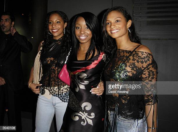 Misteeq band members SuElise Nash Sabrina Washington and Alesha Dixon at the Voyage Shop opening in Conduit Street London England on March 19 2003