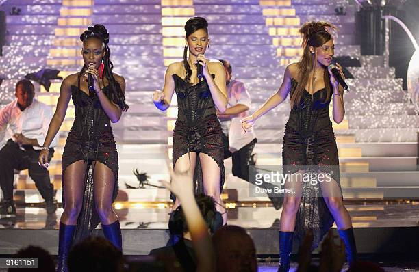 MisTeeq perform on stage at the 2002 Brit Awards ceremony held at Earls Court on February 20th 2002 in London Photo by Dave Benett/Getty Images