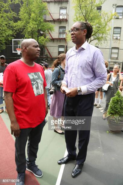DJ Mister Cee and NYC Council Member Robert E Cornegy Jr attend the ribbon cutting ceremony at Crispus Attucks Playground on August 2 2017 in the...