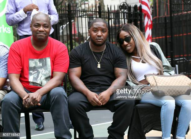 DJ Mister Cee Lil Cease and T'yanna Dream Wallace attend the ribbon cutting ceremony at Crispus Attucks Playground on August 2 2017 in the Brooklyn...
