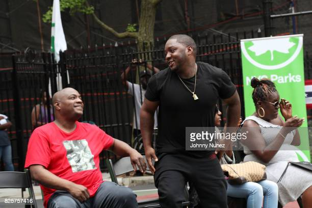 DJ Mister Cee Lil Ceaseand Jan Jackson attend the ribbon cutting ceremony at Crispus Attucks Playground on August 2 2017 in the Brooklyn borough of...