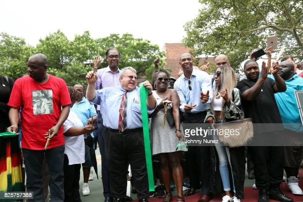 DJ Mister Cee NYC Council Member Robert E Cornegy Jr NYC Parks Brooklyn Borough Commissioner Martin Maher Jan Jackson New York State Assemblyman...