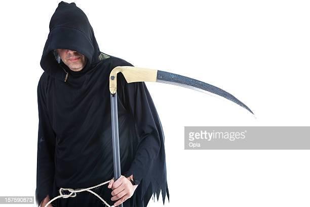 Mister mort tenant un faux isolé sur blanc