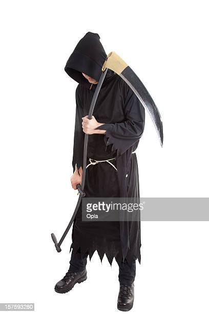 mister death holding a scythe isolated on white - grim reaper stock pictures, royalty-free photos & images