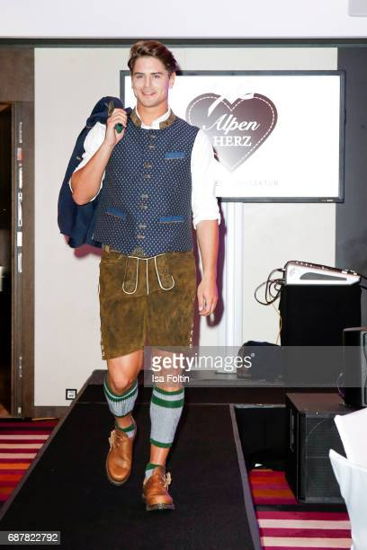 Mister Germany 2017 Dominik Bruntner walks the runway during the Kempinski Fashion Dinner on May 23 2017 in Munich Germany