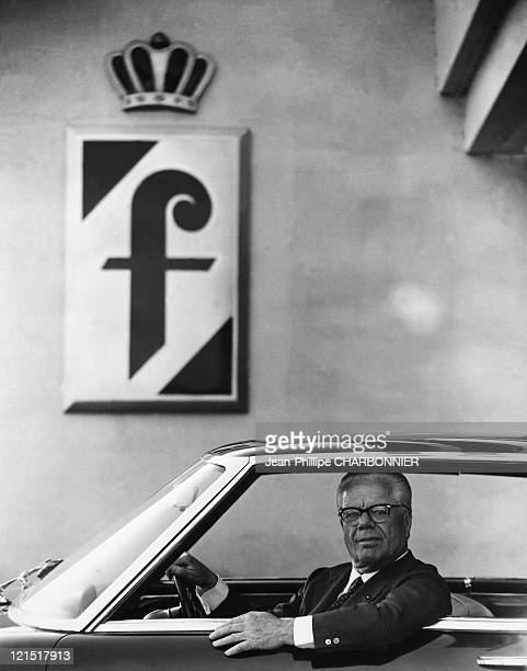 Mister Pinin Driving His Lancia Fatina In Front Of Farina Sign In 1962