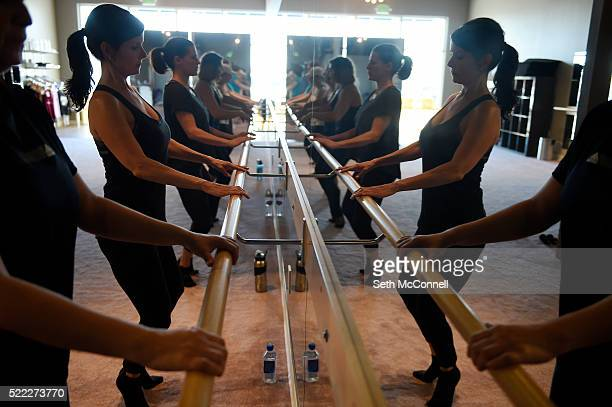 Misti Covillo works out on the bar during a class at Barre Forte in Westminster Colorado on April 13 2016 Barre Forte offers dance inspired ballet...