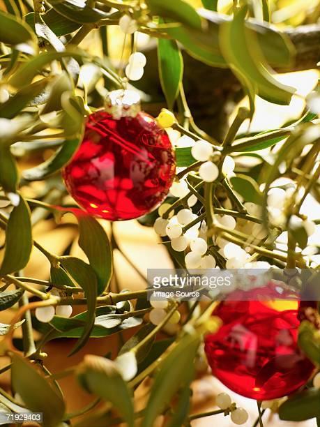 Mistletoe and christmas bauble