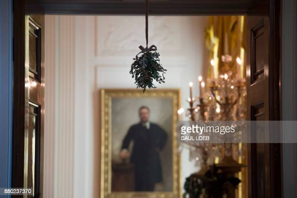 Mistletoe hangs from the doorway into the East Room alongside Christmas trees during a preview of holiday decorations at the White House in...