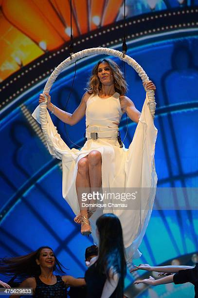 Mistress of ceremonies actress Cecile de France performs on stage during the 39th Cesar Film Awards 2014 at Theatre du Chatelet on February 28 2014...