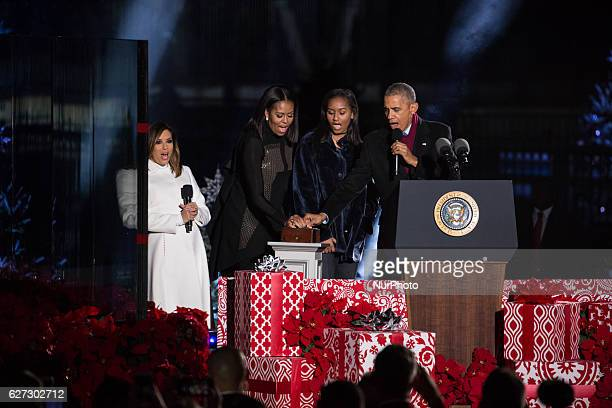 Mistress of Ceremony Eva Longoria Bastón stands next to First Lady Michelle Obama Sasha Obama and President Barack Obama as they prepare to push the...