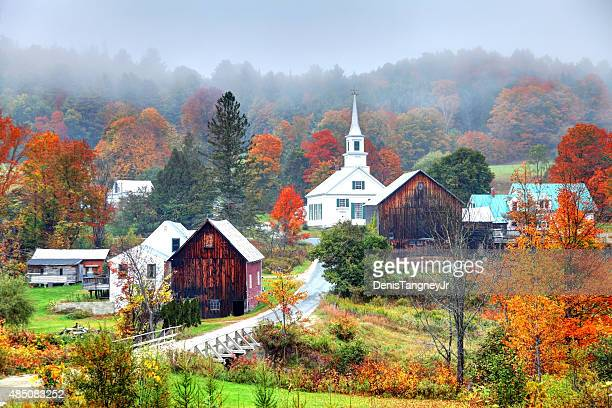 Misty Autumn Foliage in Rural Vermont