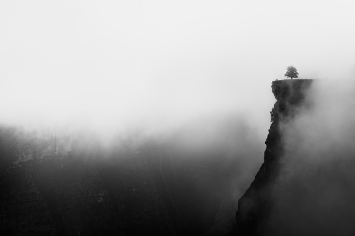 misty canyon with sharp cliff iin Delika 939694350