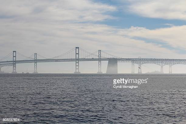 misty chesapeake bay bridge - chesapeake bay bridge stock pictures, royalty-free photos & images