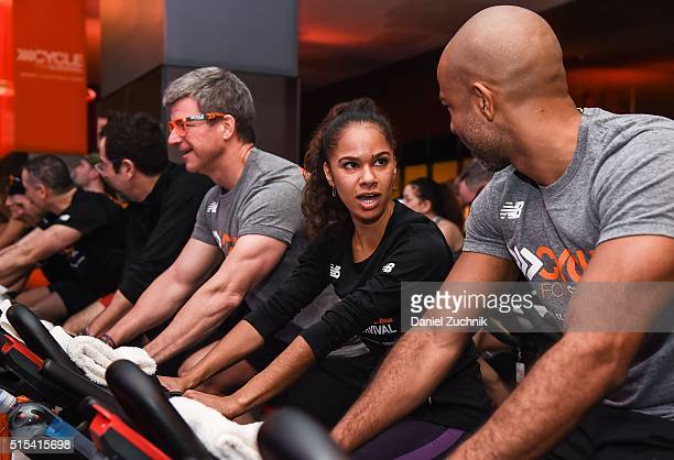 Misty Copeland and fiance Olu Evans attend the 2016 Cycle For Survival Indoor Team Cycling Event at Equinox Bryant Park on March 13 2016 in New York...