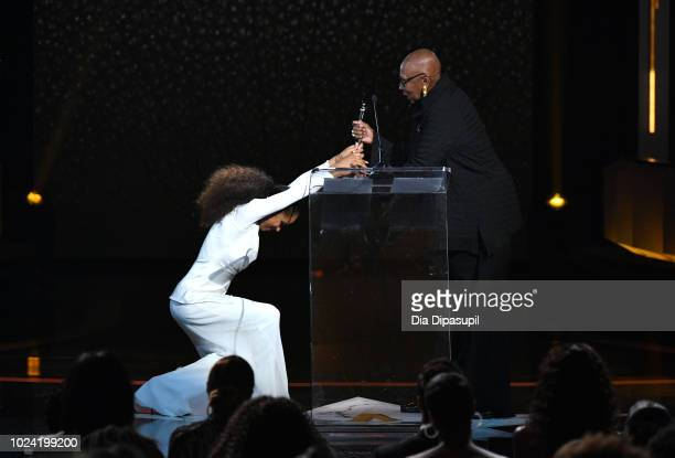 Misty Copeland and Judith Jamison onstage during the Black Girls Rock! 2018 Show at NJPAC on August 26, 2018 in Newark, New Jersey.